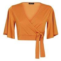 Rust Cape Sleeve Tie Side Crop Top New Look