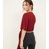 Petite Burgundy Button Front Wrap Crop Top New Look