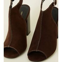Rust Suedette Cut Out Block Heel Sandals New Look
