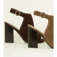 Khaki Suedette Cut Out Block Heel Sandals New Look