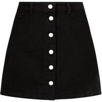 Petite Black Button Front Denim Mini Skirt New Look
