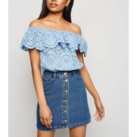 Petite Blue Button Front Denim Mini Skirt New Look