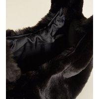Black Faux Fur Shopper Bag New Look
