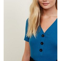 Tall Teal Ribbed Button Placket T-Shirt New Look