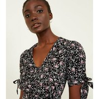 Black Floral Tie Sleeve Button Up Midi Dress New Look