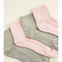 Pink and Grey Glitter Ankle Socks New Look