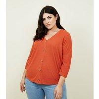 Curves Orange Fine Knit Button Front T-Shirt New Look
