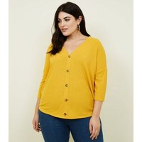 Curves Mustard Fine Knit Button Front T-Shirt New Look