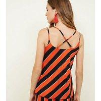 Cameo Rose Red Diagonal Stripe Cami Top New Look