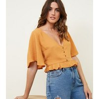 Cameo Rose Mustard Button Front Frill Crop Blouse New Look