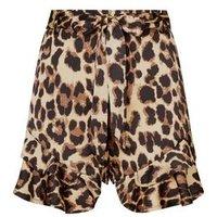 Cameo Rose Brown Leopard Print Frill Hem Shorts New Look