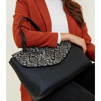 Black Faux Snakeskin Flap Leather-look Satchel New Look
