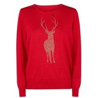 Mela Red Reindeer Studded Christmas Jumper New Look