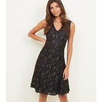 Mela-Black-Swirl-Embroidered-Dress-New-Look