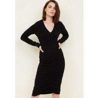 Mela Black Glitter Ruched Front Dress New Look