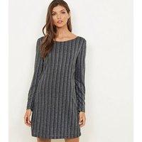 Mela Silver Textured Glitter Stripe Dress New Look