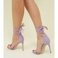 Lilac Suedette Wrap Strap Stiletto Heel Sandals New Look