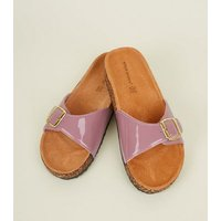 Lilac Leather Lined Footbed Sandals New Look
