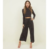 Black Glitter Party Culottes New Look