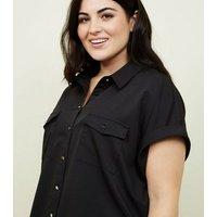 Curves Black Twill Short Sleeve Utility Shirt New Look
