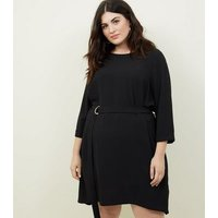 Curves Black Crepe Belted Tunic Dress New Look