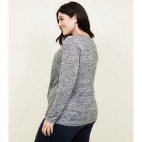 Curves Grey Glitter Twist Front Top New Look