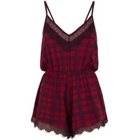 Red Check Print  Lace Trim Pyjama Playsuit New Look