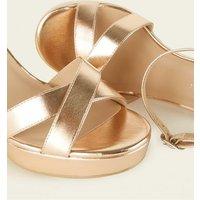 Wide Fit Rose Gold Platform Sandals New Look