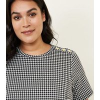 Curves Black Houndstooth Print Button Shoulder Tunic New Look