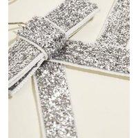 Silver Glitter Bow Earrings New Look