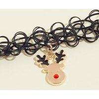 Black Reindeer Pendant Choker Necklace New Look