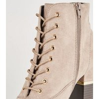 Light Brown Lace-Up Gold Trim Block Heel Boots New Look