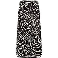 Black Zebra Print Midi Skirt New Look