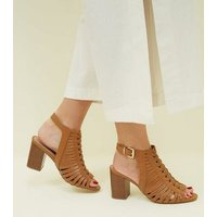 Wide Fit Tan Leather-Look Woven Block Heels New Look