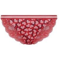 Red Heart Glitter Elastic Tanga Briefs New Look