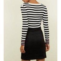 Black Suedette Button Through Front Mini Skirt New Look