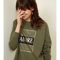 Khaki J'adore Metallic Print Sweatshirt New Look