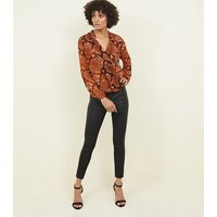Brown Snake Print Wrap Front Top New Look