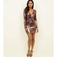 Pink Metallic Twist Front Mini Dress New Look