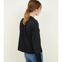 Black Twill Long Sleeve Utility Shirt New Look