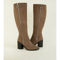 Light Brown Suedette Knee High Block Heels New Look
