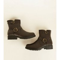 Wide Fit Rust Buckle Flat Chunky Sole Boots New Look