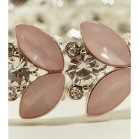 Pale Pink Gem and Diamante Stretch Silver Bracelet New Look