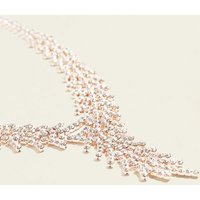 Rose Gold Feather Design Diamante Necklace New Look