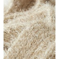 Cream Tinsel Ribbed Scarf New Look