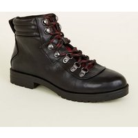 Girls Black Leather-Look Lace Up Boots New Look