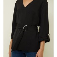 Black Longline Belted V-Neck Top New Look