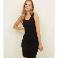 Black Ribbed Bodycon Mini Dress New Look