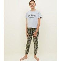 Girls Khaki Camo Go Away Slogan Pyjama Set New Look