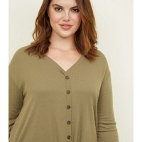 Curves Khaki Button Tie Front Top New Look